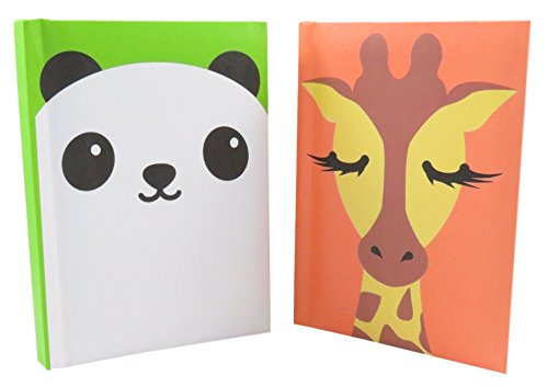 Fun-Giraffe-and-Panda-Notebook-Journal-Diary-5-38-x-3-78-Ruled-100-pages-Neon-Orange-and-Green-Bundle-of-2