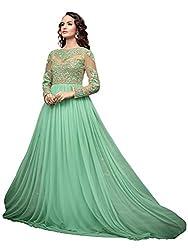 Orange Fab Women's Green Embellish Anarkali Gown Dress Material
