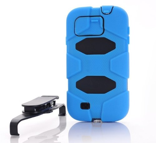 Blue Sport Outdoor Military Heavy Duty Survivor Case Belt Clip For Samsung Galaxy S4 I9500+ Screen Protector And Lcd Micro Fiber Reusable Cleaning Cloth