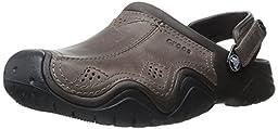 crocs Men\'s Swift Water Leather CLG Fisherman Sandal, Espresso/Black, 8 M US