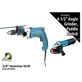 Makita HP2050FX 3/4-Inch Hammer Drill with 9557PB 4-1/2-Inch Grinder