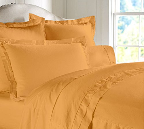 """Egyptian Cotton Luxurious Fitted Sheet With 16"""" Deep Pocket 800 TC Solid By Amrich Bedding ( Olympic Queen , Gold..."""
