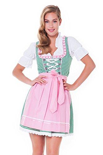 3tlg. Dirndl-Set - Trachtenkleid, Bluse, Schürze, Gr.32, grün-rosa - ALM625 thumbnail