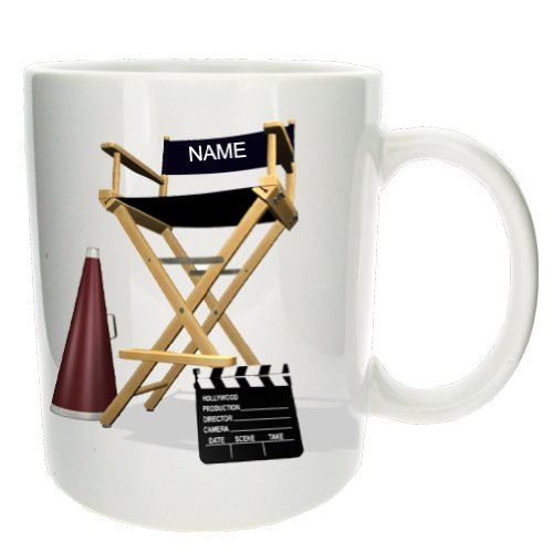 Personalised Directors Chair Office Coffee Tea Gift Mug - MugsnKisses Collection - Each Mug Includes Free Chocolate Kiss!