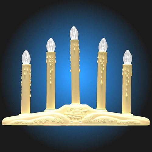 5-Light Ivory Candolier Christmas Indoor Candle Lamp