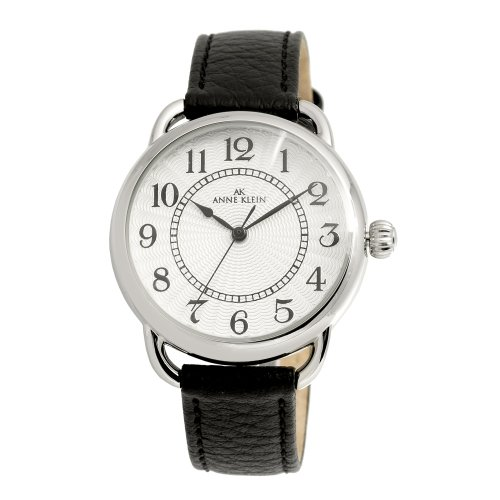 AK Anne Klein Women's 108687SVBK Easy to Read Silver-Tone Casual Watch with a Black Leather Strap