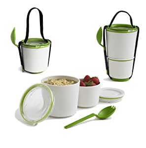 Black Blum - Bento Box - Boîte déjeuner - Boite repas, lunch box - Lunch pot blanc-vert