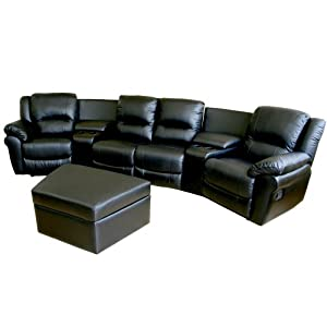 Baxton Studio Ercole 7-Piece Leather Recliner Home Theater Set, Black