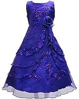 AEL - Robe Fille Habillé Mariage Demoiselle d'Honneur Soirée à Fleurs A016