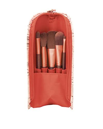 Danielle 6-Piece Brush Set Upright with Cork Case, Coral