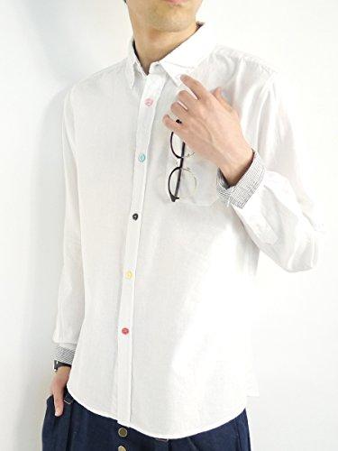 (モノマート) MONO-MART 黄金比 リネンシャツ 綿麻シャツ ワードローブシャツ 快適 ビジネス モード 品質 カジュアル メンズ ホワイト(カラー釦) Mサイズ