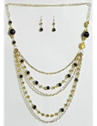 Five Layer Golden Chain With Black Bead Necklace And Earrings - Beads And Metal