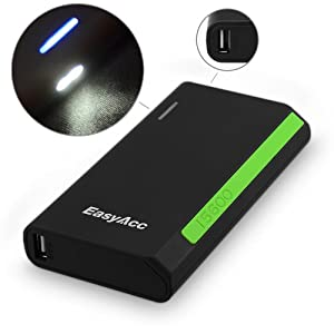 EasyAcc 15600mAh High Capacity 2A input Power Bank Built-in Dual LED Flashlight Dual USB External Battery Charger for iPhone iPad Samsung Galaxy Asus Android Phone Smartphone Tablets Pc