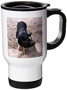 3dRose Black and White Pig Travel Mug, 14-Ounce