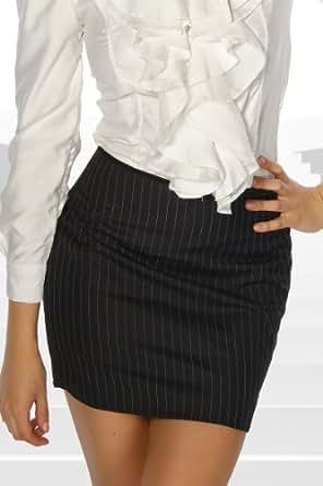 Silamoda - Femme - Mini jupe rayée femme d'affaire - L - Noir