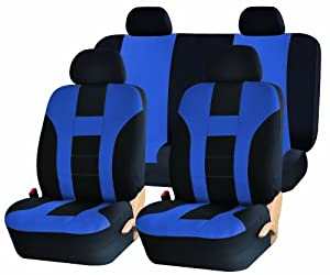 Universal Full Set of Car Seat Covers - Double Stitched Racing Style - Black and Blue Uaa003 by UNIQUE AUTOMOTIVE ACCESSORIES