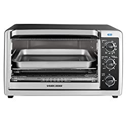 BLACK+DECKER TO 1660B 6-Slice Convection Countertop Toaster Oven, Includes Bake Pan, Broil Rack & Toasting Rack, Stainless Steel/Black Convection Toaster Oven
