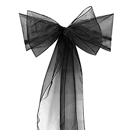 Bigbig_top 50 pieces 8 x 108 Inch Organza Chair Tie Sashes Bow - Black