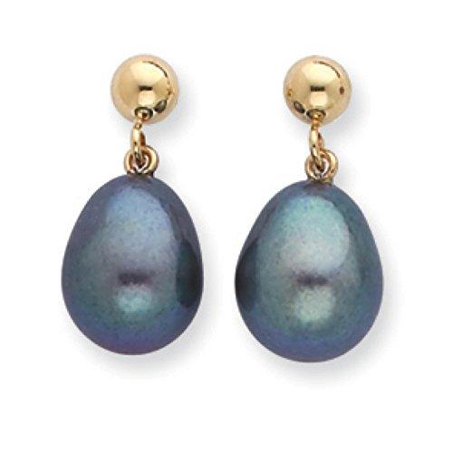 Pearl Earrings - Black Freshwater Cultured Set In Yellow Gold - 14Kt - Appealing