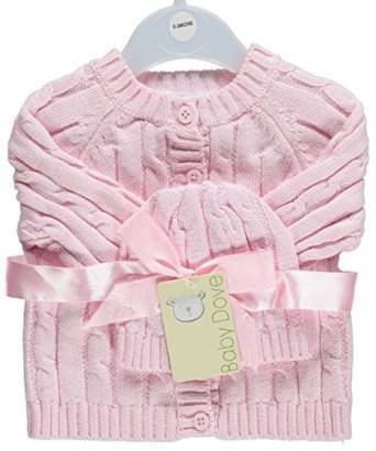 Baby Dove Baby Girls' Cable Knit Cardigan & Beanie Set - pink (0/3 Mo)