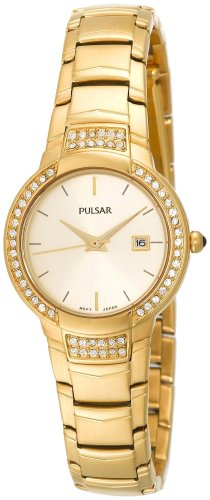 Pulsar Women's PXT714 Dress Sport 58 Swarovski Crystal Champagne Dial Gold-Tone Watch