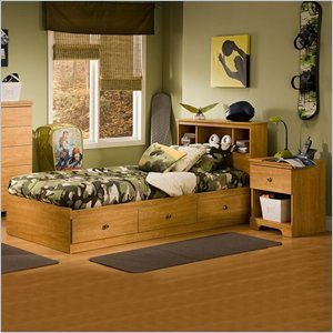 Cheap South Shore Brinley Kids Twin Wood Captain's Bed 3 Piece Bedroom Set in Florence Maple (3575080-3PKG)