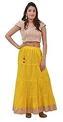Carrol Long Ethnic Skirt-Yellow