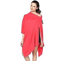 Pluchi Fashion Knitted Cotton Poncho Viktoria-Strawberry Pink