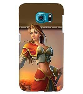 PRINTVISA Warrior Girl Case Cover for Samsung Galaxy S6 Edge