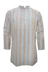 Indiatrendzs Men's Ethnic Kurta Grey Brown Vertical Lines Cotton Kurta