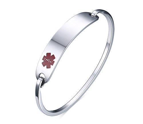 (Free Engraving) Stainless Steel Medical Alert ID Bangle Bracelet,Silver,7.5