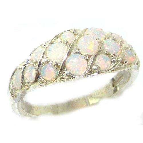 英国製 925 シルバー 天然 オパール レディース クラスター エタニティー リング 指輪 サイズ 12.5 各種サイズあり