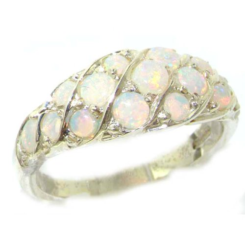 Luxury Ladies Solid Sterling Silver Natural Fiery Opal Band Ring - Size 12 - Finger Sizes 5 to 12 Available - Suitable as an Anniversary ring, Engagement ring, Eternity ring, or Promise ring