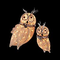 Home Accents Holiday Pre-Lit Burlap Owl Family