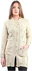 Montrex Women's Plain Coats (Montrex-6402Cream, Cream, XL)