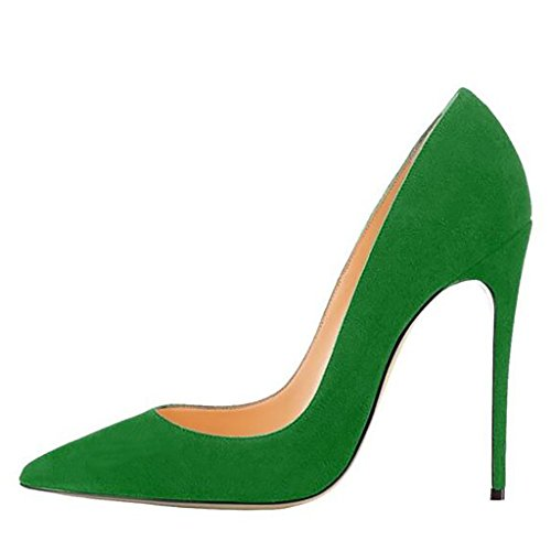 Mavirs Women's Cymn Green Suede Pointed Toe High Heel Pumps Slip on Party Dress Stiletto Shoes 9 M US