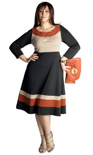 IGIGI by Yuliya Raquel Plus Size Nellie Colorblock Dress in Terracotta Cheap