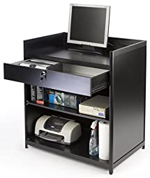 Displays2go Cash Register Stand with Locking Drawer and Storage Shelf, Recessed Top, 36\