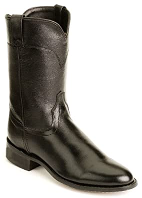 Old West Black Mens Corona Calf Leather Roper Toe Cowboy Boots 7 D
