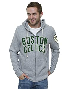 NBA Boston Celtics Mens Vintage Full Zip Hoodie, Grey by Junk Food