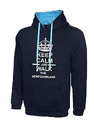 Keep Calm And Walk The foundland Navy Blue & Sky Blue Contrast Hoody