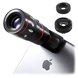 Mobilegear 4 in 1 Mobile Camera Lens for Smartphone Photography with Macro, Wide Angel, Fish Eye and 10X Zoom Lens - Black