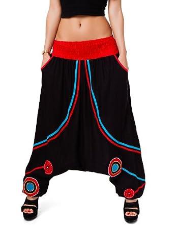24brands - Women Harem Pants / Aladdin-Look Pants / Dance Pants - 2601, Size:34/ 36/ 38/ 40;Colour:JF-757 Black