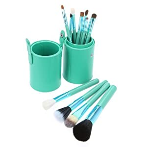 MY LIFE Set of 12 pcs Professional Makeup Brush Kit w/ Leather Cup Holder Case kit (Light Green)