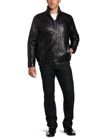 IZOD Men's Leather Jacket, Black, X-Large