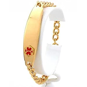 Medical ID Information Bracelet Gold Plated 8