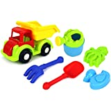 Beach Dump Truck Childrens Kids Toy Beach/Sandbox Truck Playset W/ Toy Truck, Watering Can, Hand Tools, Sand Molds...