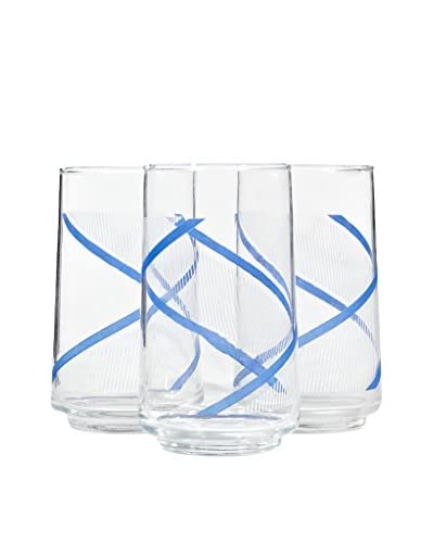 Set of 3 1970s Blue Striped Tumblers