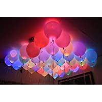 HealthIQ Set Of 25 LED Balloons For Party Festival Diwali Christmas New Years Celebrations - Assorted Colours