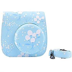GBSELL Blue Flower Leather FUJIFILM Instax Mini8 Mini8s Instant Film Camera Case Bag w/ a Removable Bag Strap